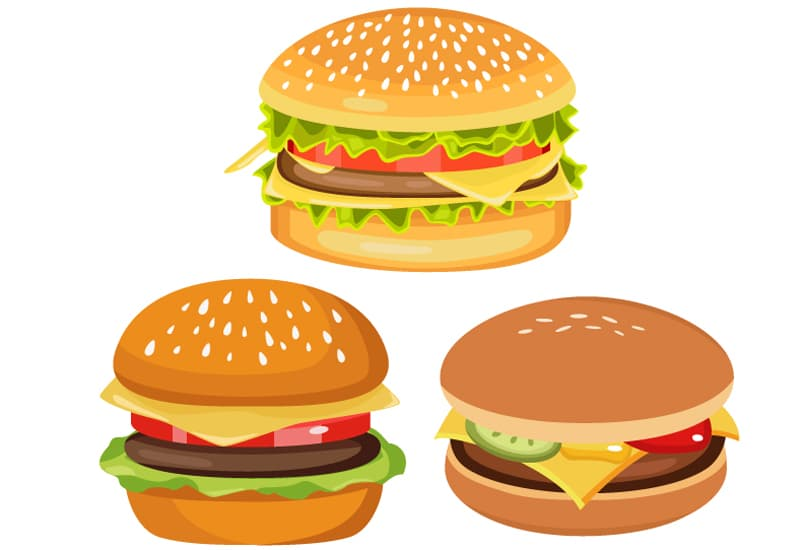 イラストAC掲載用イラスト(3つのハンバーガー)